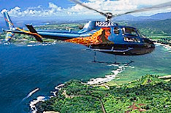 Flying a helicopter over an Island in Maui