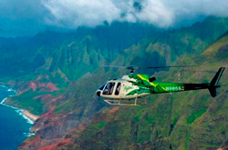 Maui Helicopter over a canyon